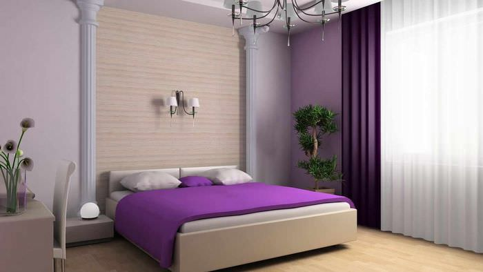 Splendidi interni di camere da letto in viola e lilla con ...