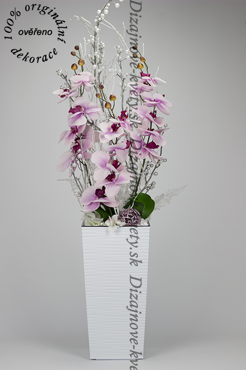 Luxusné vianočná veľká led osvetlená dekorácie s ružovými orchideami