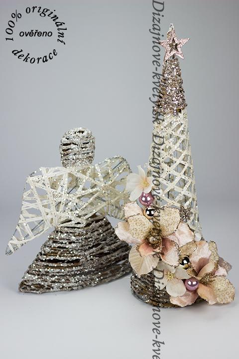 Moderné dizajnová sada vianočných dekorácií stromček s anjelom