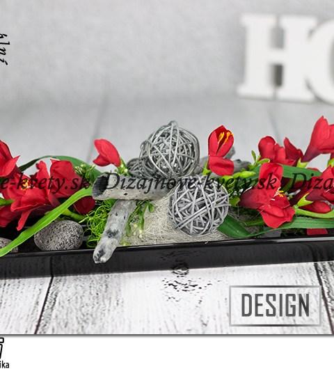 Dekorácie v luxusnej čiernej a červenej farbe