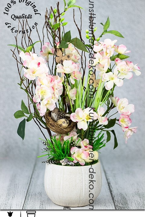 Jar v kvetináči s jabloňovými kvetmi trvanlivá dekorácie