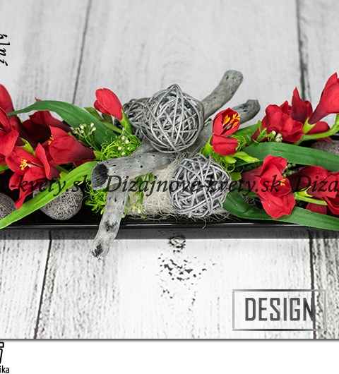 Moderná čierna červená dekorácie na stôl