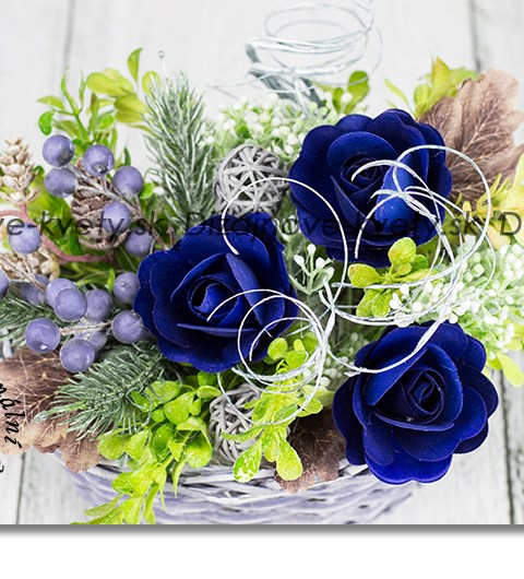 modré ruže, bytový dizajn, jesenné dekorácie