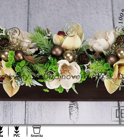 Vianočné aranžmá s orchideí na prírodnom dreve