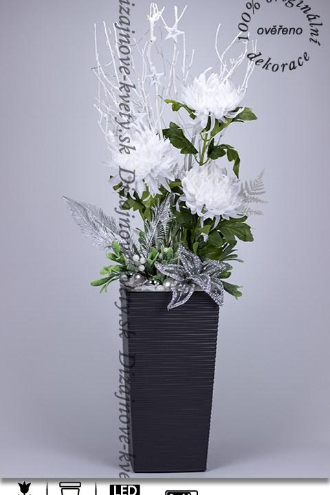 dekorácie, biele kvety, zasnežené kvety, georgíny