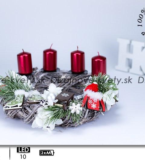 adventný veniec, LED veniec, horský motív, horská chata, darček