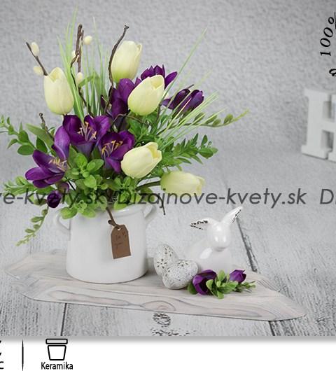 jarné dekorácie, veľkonočné dekorácie, dekorácie na stôl, frézie, veľkonočný zajačik