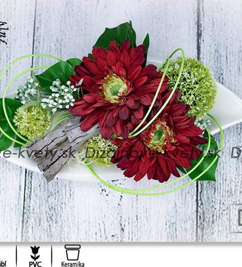 ikebana, červené gerbery, kvetinová dekorácia, dekorácie na stôl