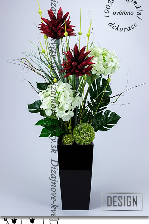 ikebana, bytový dizajn, tropické kvety, kvetinová dekorácia, LED dekorácie