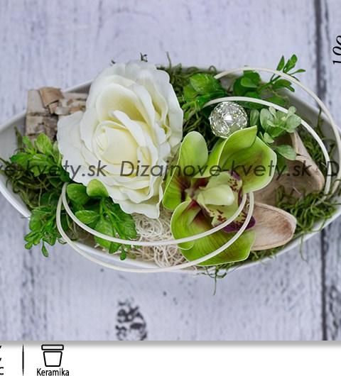 bytová dekorácia, svieže kvetinové aranžmá, orchidea, ruže, dekorácie na stôl