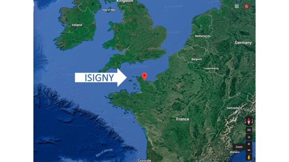Google map of Isigny France Normandy