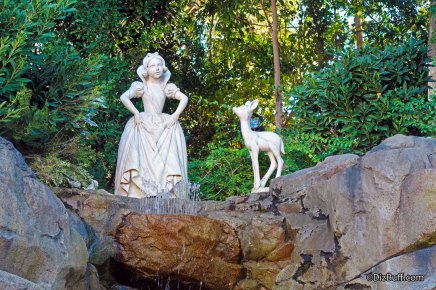 Closeup of Snow White in grotto with a deer at Disneyland