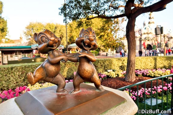 Little Chip and Dale statue near Disneyland Partners Statue in Central Hub or Central Plaza or Castle Hub