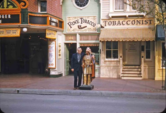 Vintage picture of Cigar Store Indian in Disneyland on Main Street USA