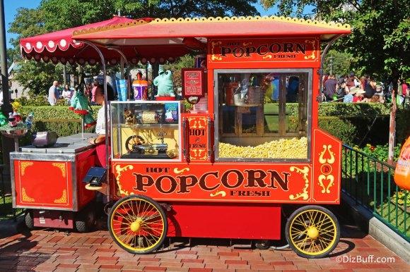 Popcorn cart in Disneyland Central Hub or Castle Hub or Central Plaza