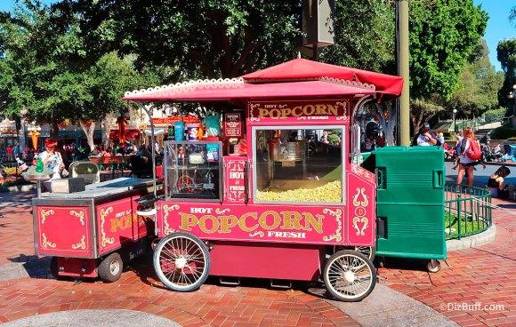 Popcorn cart in DIsneyland Town Square