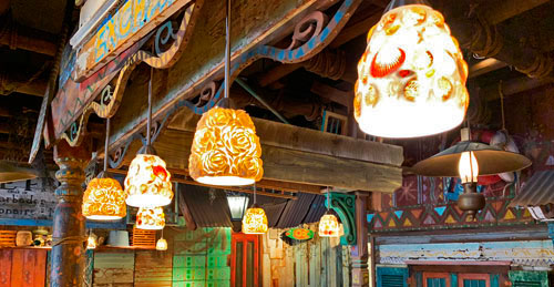 String of sea shell light fixtures in Bengal BBQ Restaurant sit down eating area in Disneyland CA