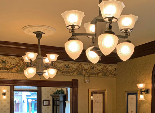 Ceiling light fixtures in Disneyland City Hall in Town Square