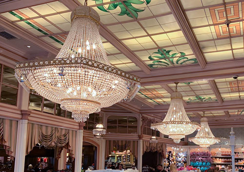 Three large crystal chandeliers in Crystal Arcade Disneyland