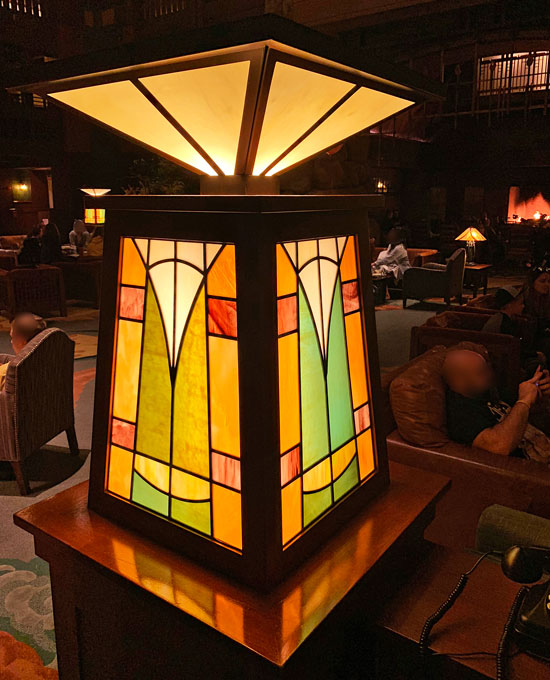 Arts and Crafts style light fixture in lobby of The Grand Californian Hotel and Spa in Disneyland