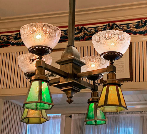 Decorative ceiling light fixture in City Hall in Town Square Disneyland