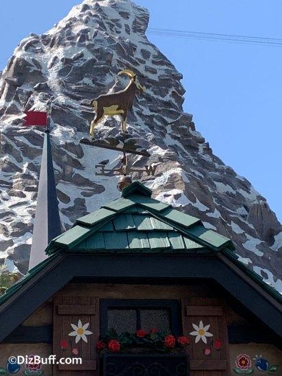 weather vane mountain goat on Matterhorn Bobsleds loading area in Disneyland Fantasyland