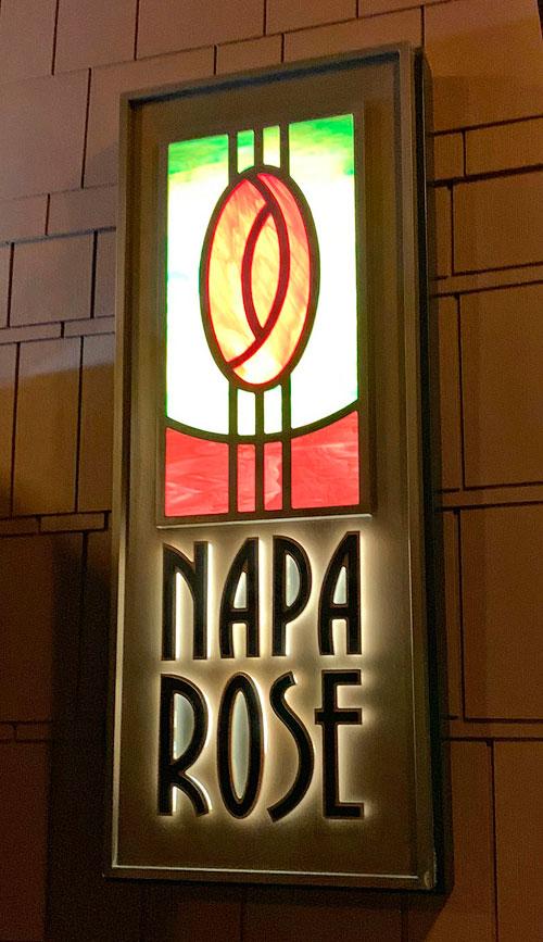 Napa Rose Restaurant lighted sign fixture at Disney's Grand Californian Hotel