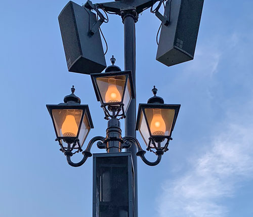 Triple light fixture at Rivers of America Disneyland