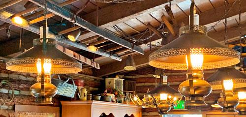 Round metal ceiling light fixtures in Westward Ho Trading Company Disneyland
