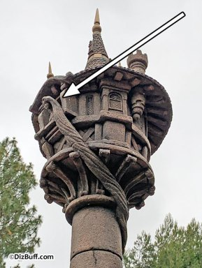 Close up of Rapunzel and her long hair in Raprunzel's Tower in Fantasy Faire Disneyland