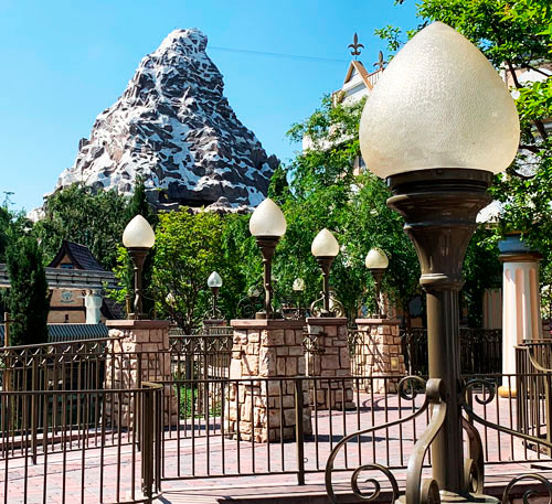 Tulip shaped light fixtures near Matterhorn Bobsleds in Disneyland CA