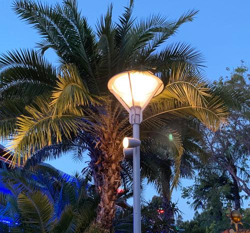 Upright free standing light fixture in Tomorrowland Disneyland