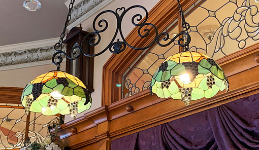Tiffany style lamps in the Fortuosity Shop on Main Street USA in Disneyland California