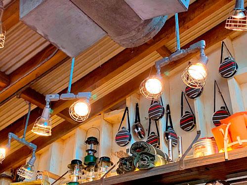Light fixtures at Humphrey's Service And Supplies Shop in Disney California Adventure Park Disneyland