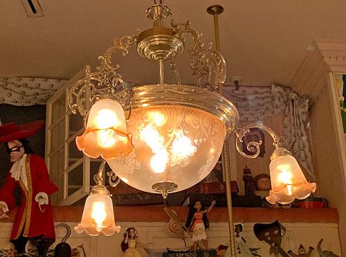 Glass chandelier in Toy Shop off Main Street USA in Disneyland