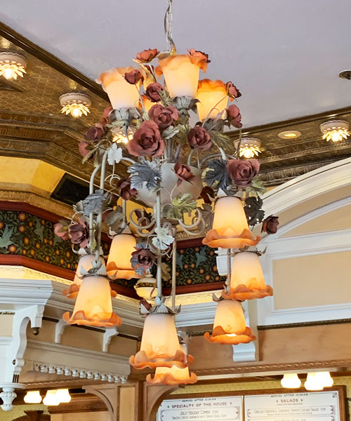 Flower themed Light fixture at Jolly Holiday Bakery Cafe in Disneyland California