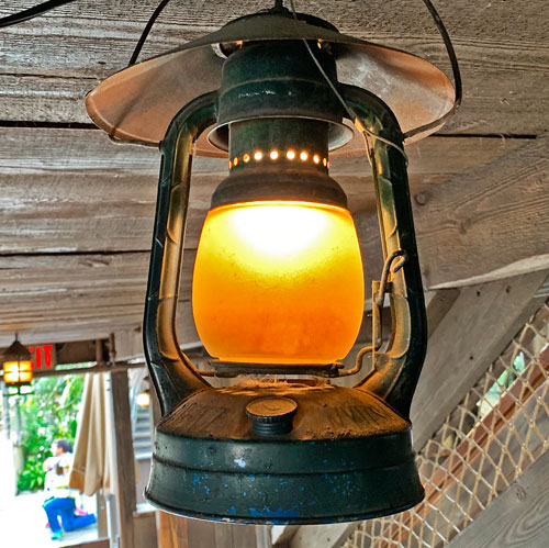 Lantern style light fixture in Jungle Cruise attraction in Adventureland Disneyland