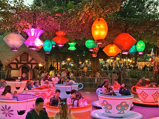 Colorful summer lantern light fixtures at Mad Tea Party Attraction in Disneyland