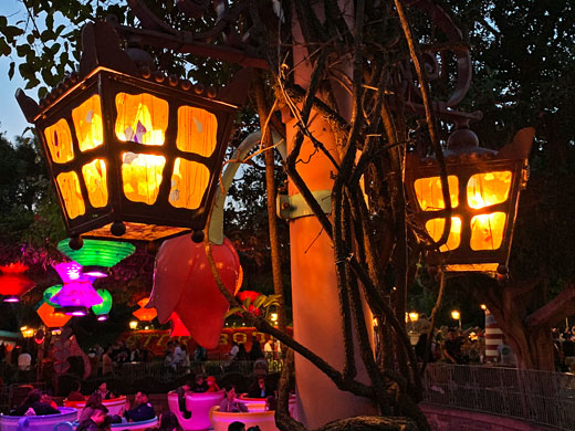 Twin light fixtures at Mad Tea Party attraction in Fantasyland Disneyland