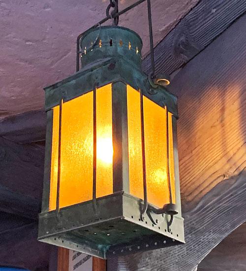 Hanging metal light fixture at Peter Pan's Flight Disneyland Fantasyland