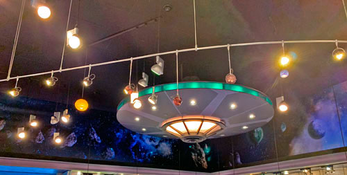 Flying saucer light fixture in The Star Trader Store in Tomorrowland Disneyland