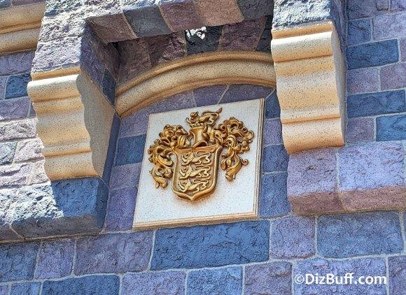 Disney Family Crest on Sleeping Beauty Castle after 2019 castle refurbishment in Disneyland Anaheim California