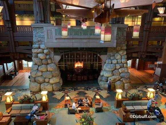 Massive fireplace in the lobby of Disney's Grand Californian Hotel and Spa