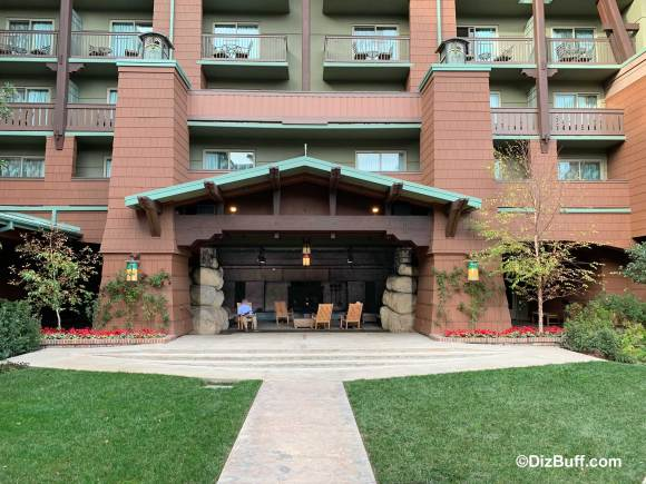 Outdoor fireplace at Disney Grand Californian Hotel and Spa