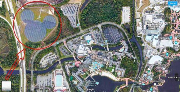 Arrow pointing to Largest Hidden Mickey solar farm in Walt Disney World Orlando FL