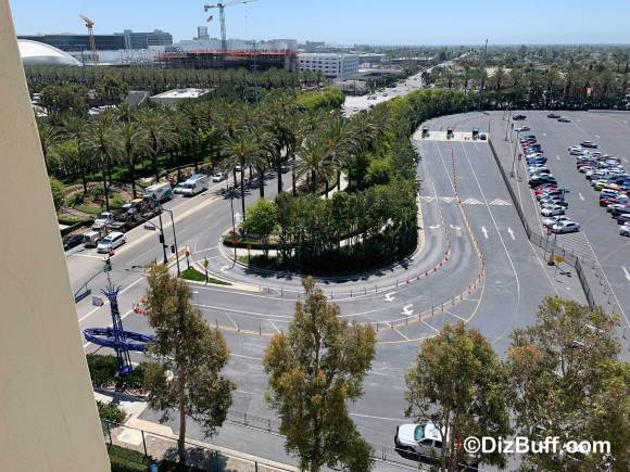 Image of Large Hidden Mickey on Disneyland Drive in Anaheim CA taken from Paradise Pier Hotel