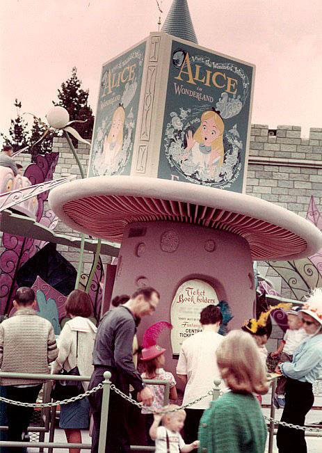 Alice in Wonderland vintage ticket booth in Disneyland California
