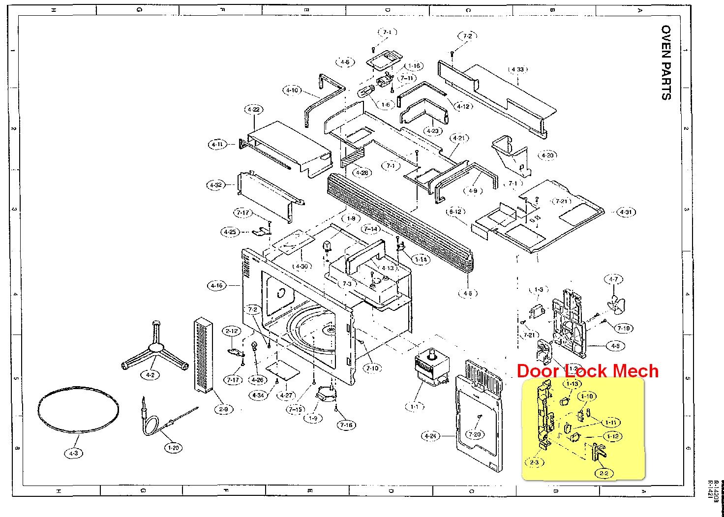 Sharp Carousel Ii R Microwave Door Latch Lock Switch