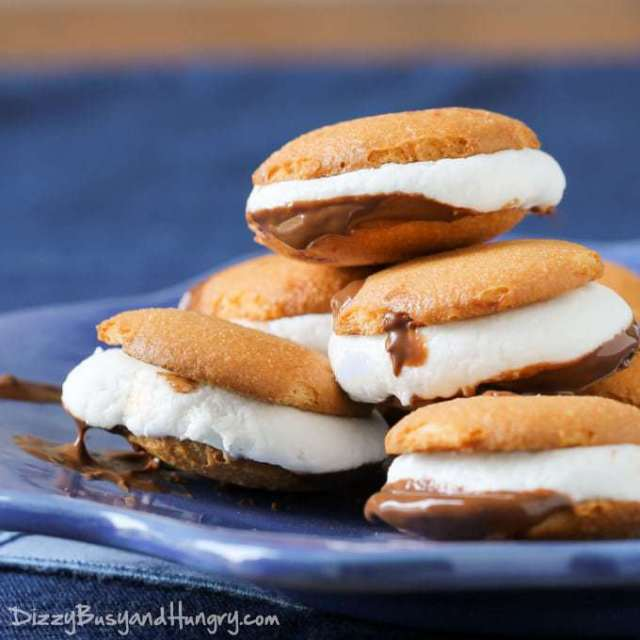 Vanilla Wafer Microwave S'mores | DizzyBusyandHungry.com - Cute, two-bite s'mores you can make in your kitchen in less than 5 minutes!