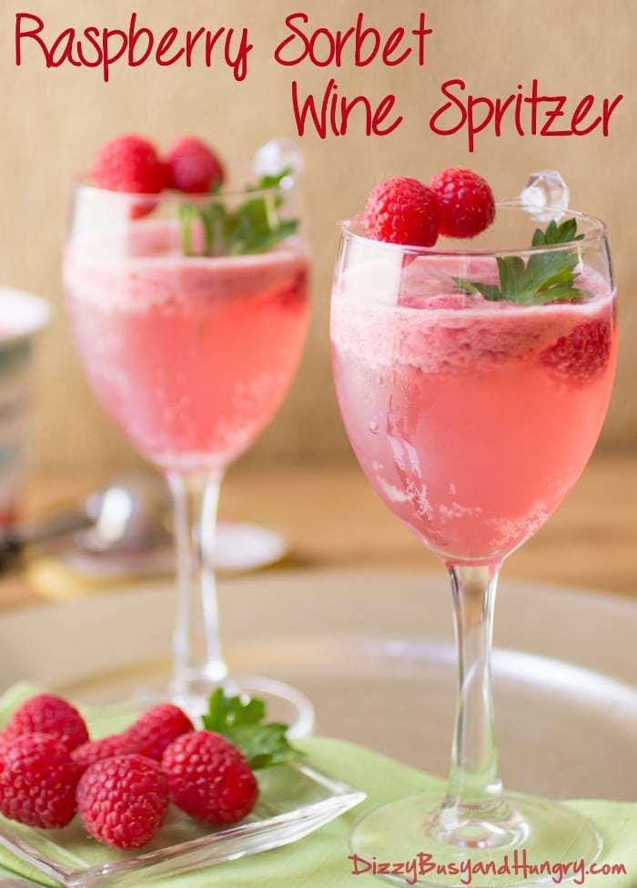 Raspberry Sorbet Wine Spritzer